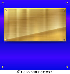 Shiny brushed metal gold, yellow plate with screws. Stainless steel banner on blue polished background, 3D illustration for your design.