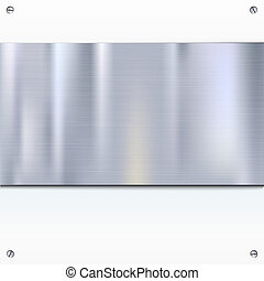 Shiny brushed metal plate with screws. Stainless steel banner, isolated on white background, 3D illustration for your design, advertisement, posters.