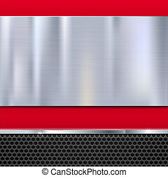Shiny brushed metal plate with screws. Stainless steel banner on red polished background with metal strip and black mesh, 3D illustration for your design.