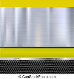 Shiny brushed metal plate with screws. Stainless steel banner on yellow polished background with metal strip and black mesh, 3D illustration for you.