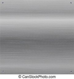 Gray shiny brushed, polished metal background with screws in a corners.