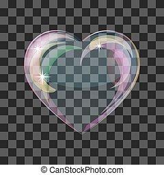 Shiny bubble heart - Heart-shaped transparent clean...