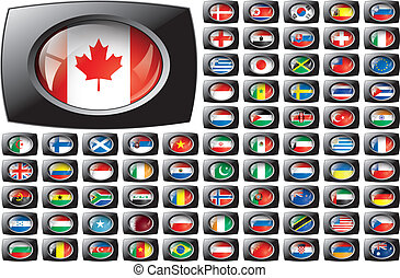 Shiny button flags with black frame collection - vector illustration. Isolated abstract object against white background.