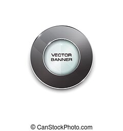 shiny button with metallic elements, vector design for website.