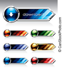 Set of reflective web buttons in six colours.