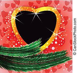 Shiny Christmas background with heart shaped blank photo frame