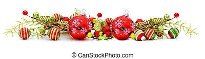 Shiny Christmas border - Long Christmas border with baubles ...