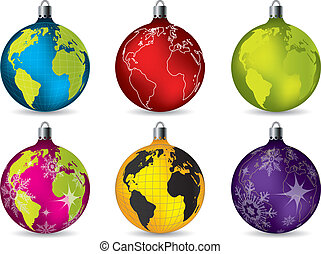 Shiny christmas decorations with world map