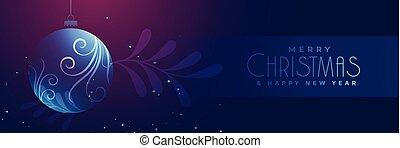 shiny christmas floral glass ball banner design