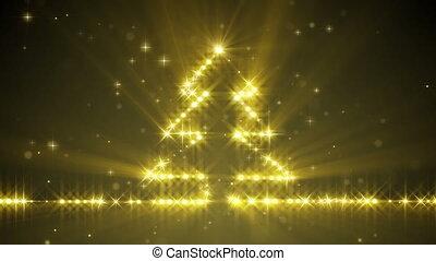 shiny christmas tree yellow stars. computer generated...