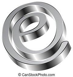 Shiny Chrome E Sign email Symbol