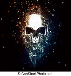 Shiny chrome skull - paticles and fractals