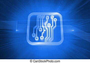 Shiny circuit board on blue background