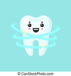 Shiny clean tooth with emotional face, cute colorful vector icon illustration