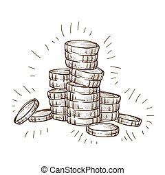 Shiny coins stack isolated sketch metal cash