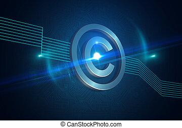 Shiny copyright icon on black background