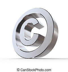 Shiny Copyright Symbol - shiny metal copyright sign -...