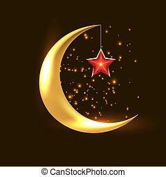 Crescent Moon Ramadan Kareem - Shiny Crescent Moon Ramadan...
