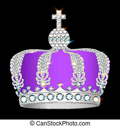 crown of silver platinum and precious stones