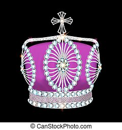 shiny crown of silver platinum and precious stones