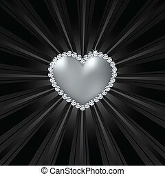 Shiny crystal love heart on black line. Vector