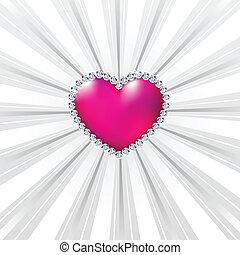 Shiny crystal love hearts on silver line