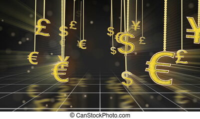 currency signs dangling on strings