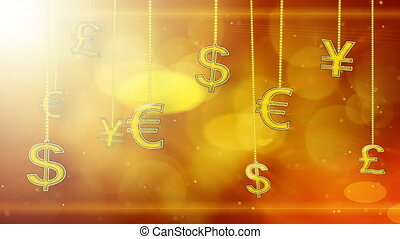 shiny currency signs on strings