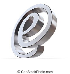 Shiny Curved e-AT Symbol - shiny metallic curved e sign in...