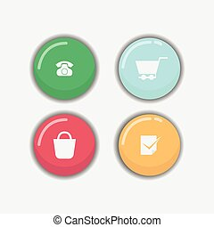 Shiny cute web buttons flat design vector
