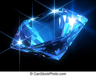 shiny diamond - 3d rendered illustration of a blue diamond