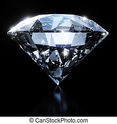 Shiny diamond isolated on black background with clipping...