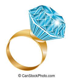 Shiny diamond ring, vector illustration