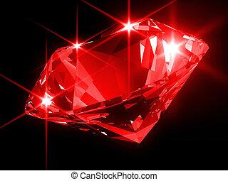 shiny diamond - 3d rendered illustration of a red diamond