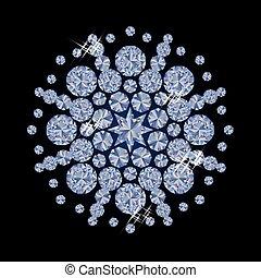 Shiny diamonds Christmas snowflake,