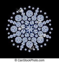 Shiny diamonds Christmas snowflake,