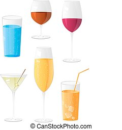 Shiny different glasses for drinks - Glasses for drinks icon...