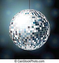 Shiny disco ball on dark blue background eps10