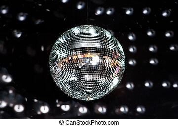 Shiny disco ball in a nightclub