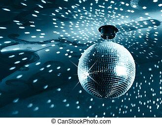 Shiny disco ball on nightclub