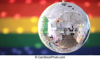 Shiny disco ball revolving