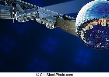 Shiny disco ball with light background