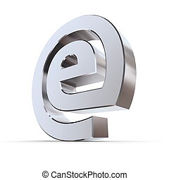 Shiny e-AT Symbol - shiny metallic e sign in an AT symbol...