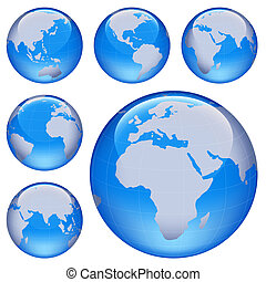 shiny earth map - shiny planet earth map from six views; ...