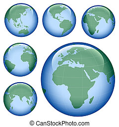 shiny earth map - shiny planet earth map from six views;...