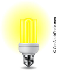 Shiny energy saving light bulb - Illustration of shiny...