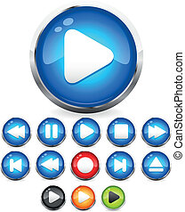 Audio button vector icons with transparent eps 10 drop shadows. All the common audio control buttons included: stop button, play button, eject button, rewing button, fast forward button. EPS 10 transparent clip-art in blue, green, red and orange-yellow colors