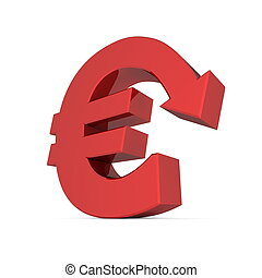 Shiny Euro Symbol with Arrow Down - Glossy Red