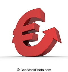 Shiny Euro Symbol with Arrow Up - Glossy Red