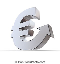 Shiny Euro Symbol with Arrow Up - Silver Metallic
